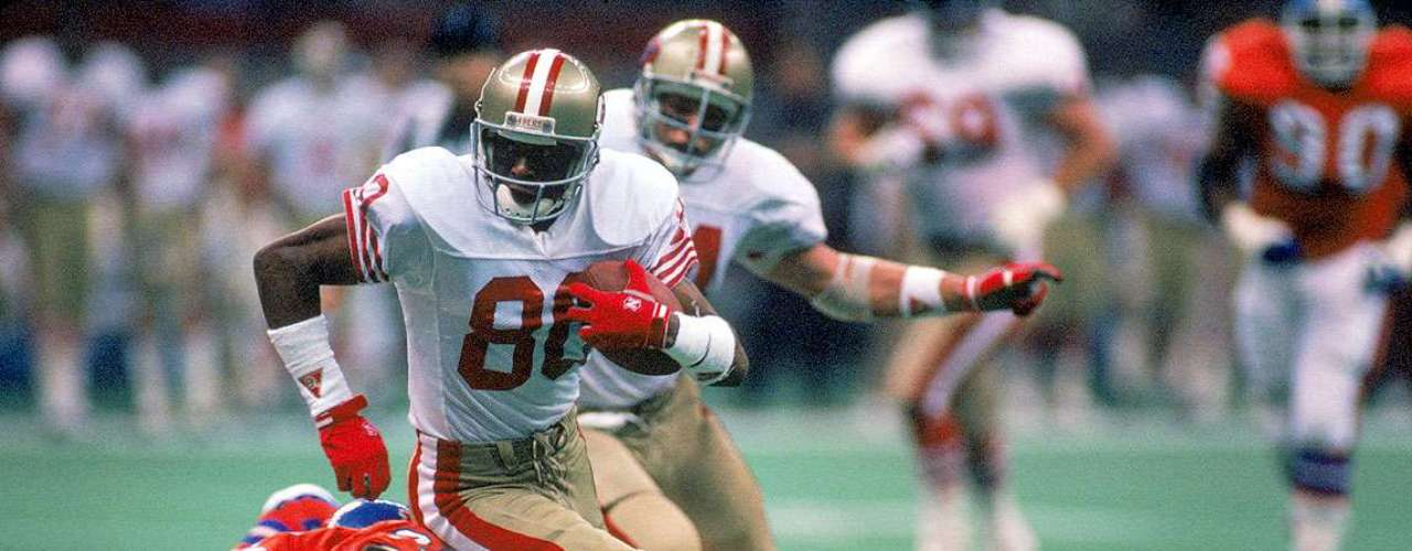 Super Bowl XXIV: The 49ers have a tradition of blowing out team sin the Super Bowl. This time Joe Montana threw five touchdowns, three to Jerry Rice, as the team pummeled the Denver Broncos 55-10.