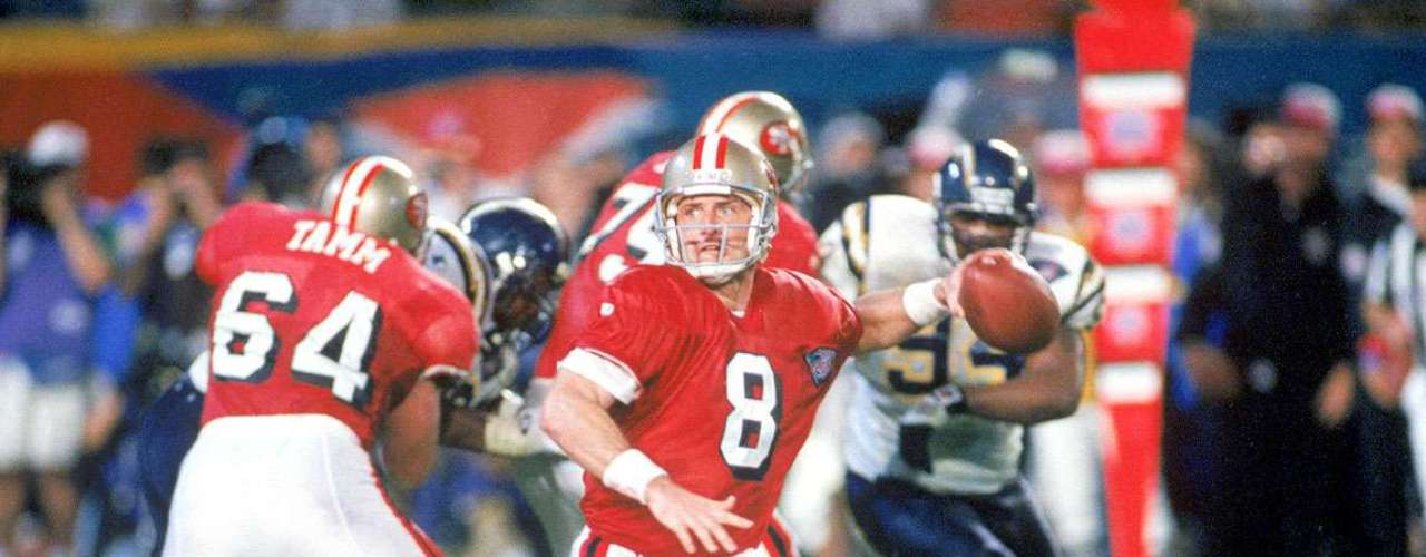Super Bowl XXIX: The 49ers destroyed the San Diego Chargers 49-26, with Steve Young throwing a record breaking 6 touchdowns as their rivals never stood a chance.