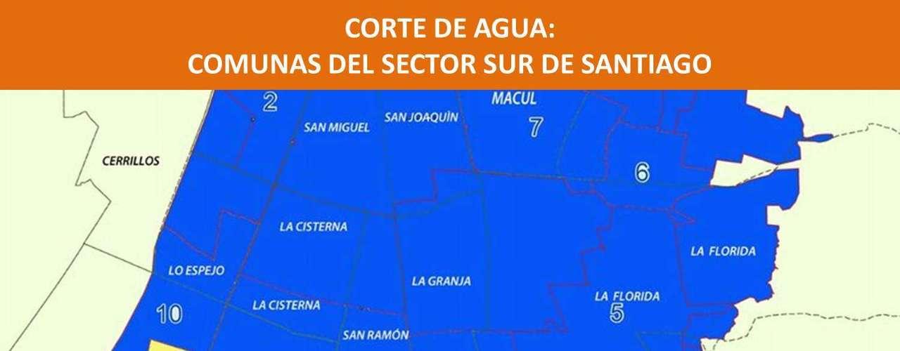 Las comunas en azul son las afectadas por el corte de agua en la Región Metropolitana