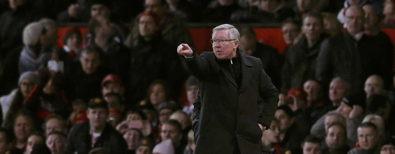 Manchester United's manager Alex Ferguson gestures.