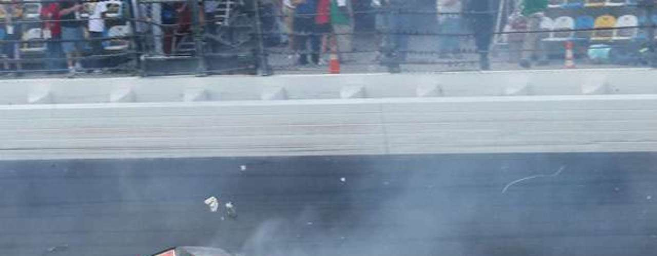 Larson and Smith's cars hit the wall and then tumbled to the infield at Daytona International Speedway.