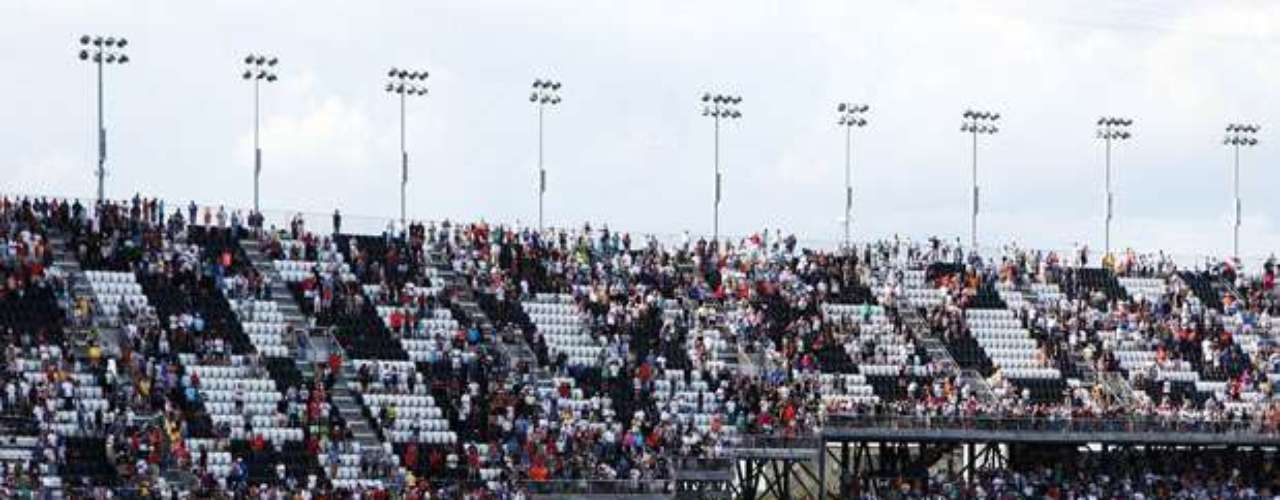 A general view of the scene following an incident at the finish of the NASCAR Nationwide Series DRIVE4COPD 300.