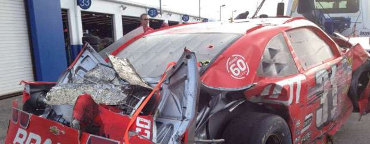 After the race was finished, the wreckage left behind was towed to the pits so that crews could survey the damage.