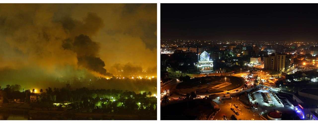 Con la salida del último soldado estadounidense de Irak se pusofin a una guerra iniciada el 20 de marzo de 2003 que ha supuesto decenas de miles de bajas civiles y militares. Estas imágenes muestran el antes y el después en este décimo aniversario de la invasión internacional.