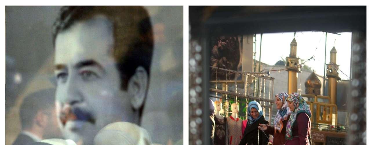 La captura y muerte de Saddam Hussein, en diciembre de 2003, no cerró una guerra que en estos años se ha cobrado la vida a más de cien mil personas. En la fotografía se ve a la izquierda elreflejo de una mujer enen un cristal en 2003 yuna fotografía del expresidente iraquí.A la derecha, también un reflejo en un cristal, pero esta vez de 2013, en el que se ve a unas mujeres paseando ante un vendedor ambulante.