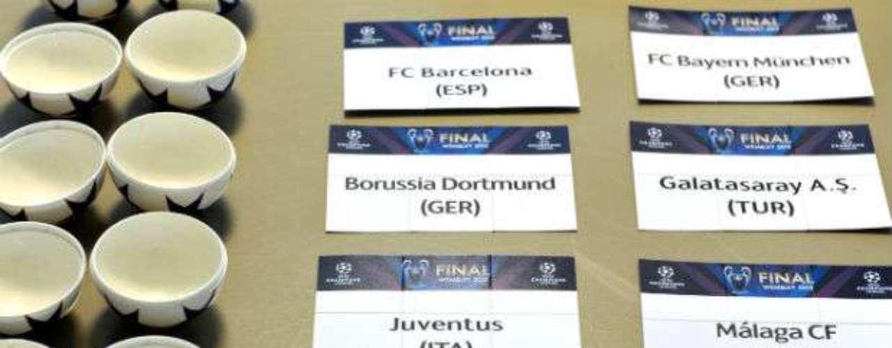 Los nombres de los equipos, antes de ser introducidos en las pelotitas del sorteo.