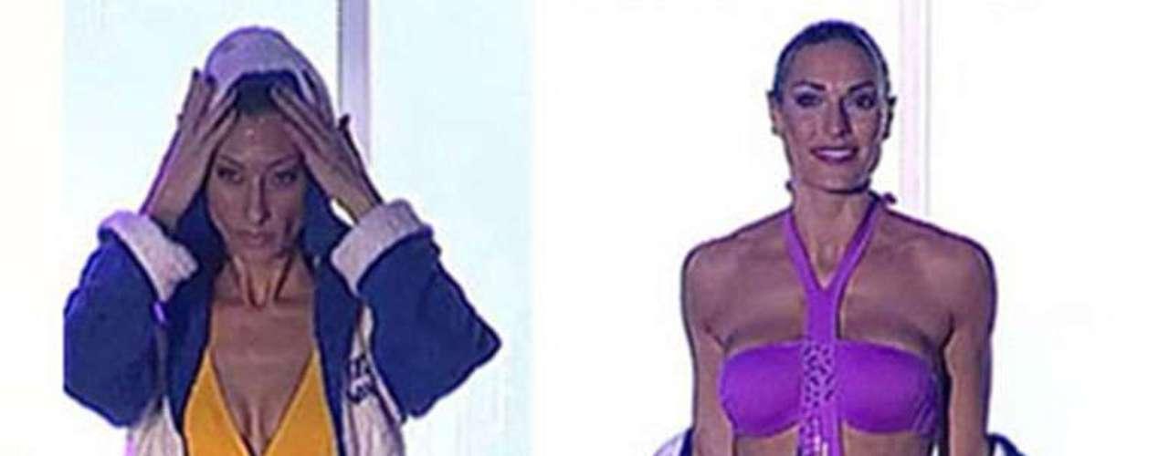 Verónica Hidalgo y Mónica con dos bañadores de la línea WIN de Dolores Cortés.