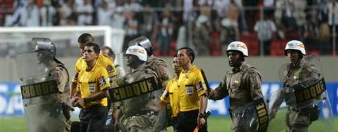 Referees had to be escorted off the field by police.
