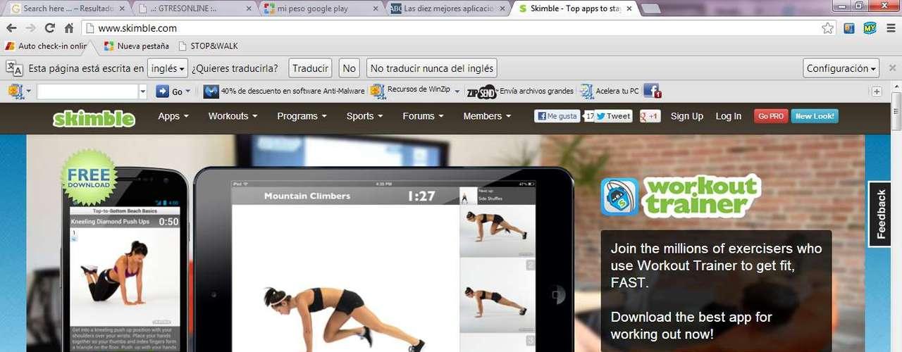 Con Workout Trainer tendrás montones de rutinas de entrenamiento a golpe de clic.