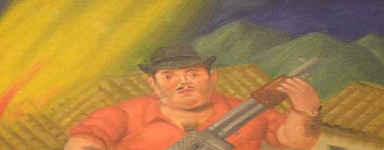 Secuestros, masacres y funerales; campesinos asesinados y hombres orgullosos portando rifles y ametralladoras, todas escenas comunes en la Colombia de Botero, provocan la reflexión en el público asistente. En la imagen, \