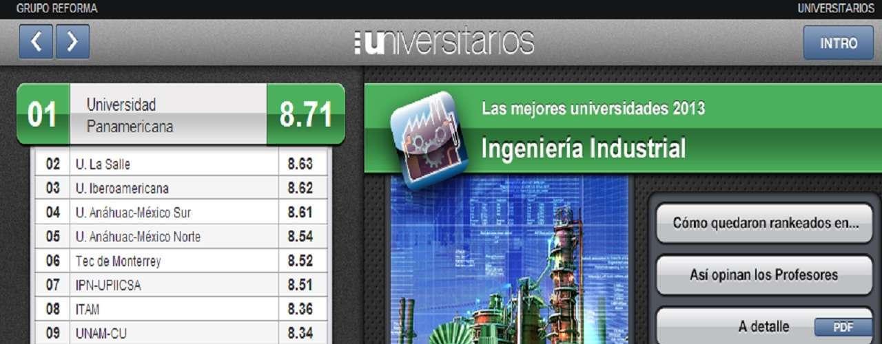 La Universidad Panamericana encabeza la lista de las mejores universidades de este 2013 en la carrera deIngeniería Industrial.