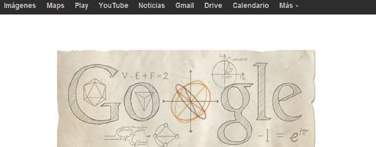 Este lunes 15 de abril el buscador más famoso del mundo Google, realiza un homenaje a Leonhard Euler a través de un doodle.A 306 años de su nacimiento en la ciudad de Basilea, Euler es considerado el principal matemático del siglo XVIII y uno de los más grandes y prolíficos de todos los tiempos.
