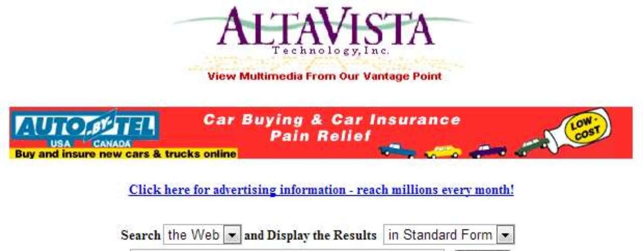 AltaVista fue una vez uno de los principales motores de búsqueda en la web. Creada en 1995, generaba los resultados de búsqueda de Yahoo!, compañía que compró ese buscador en 2003. AltaVista llegó a ser cerrado en 2011, pero regresó a la activa el próximo año y se encuentra actualmente en el aire con la URL original.