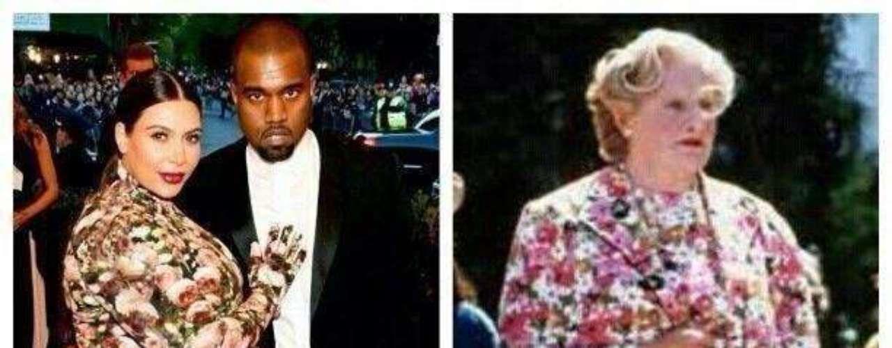 Kim Kardashian asistió a la gala de moda en el MET de Nueva York luciendo un vestido demasiado primaveral acompañada de su novio Kanye West. En esta ocasión parece que la socialité le robó el look al personaje deMrs Doubtfire, que interpretóel actor Robin Williams en la comedia en 1993. ¡Impresionante!