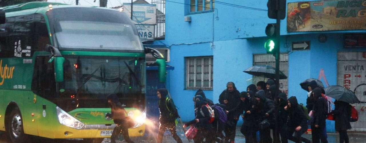 Calles inundadas en Santiago