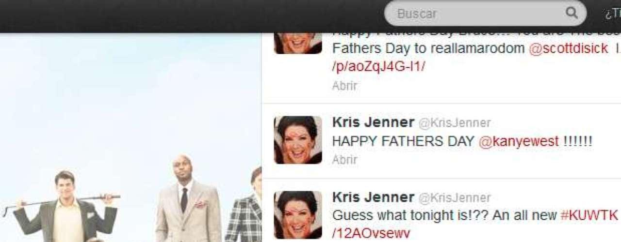 Kris Jenner, la encantadora mamá de Kim Kardashian, también quiso aprovechola oportunidad para felicitar el día al recién estrenado padre. \