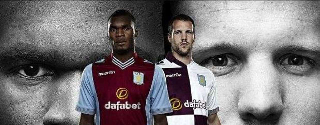 Aston Villa also showed off their new home and away kits with fan favorite Benteke. THough that checker design may not be as popular.