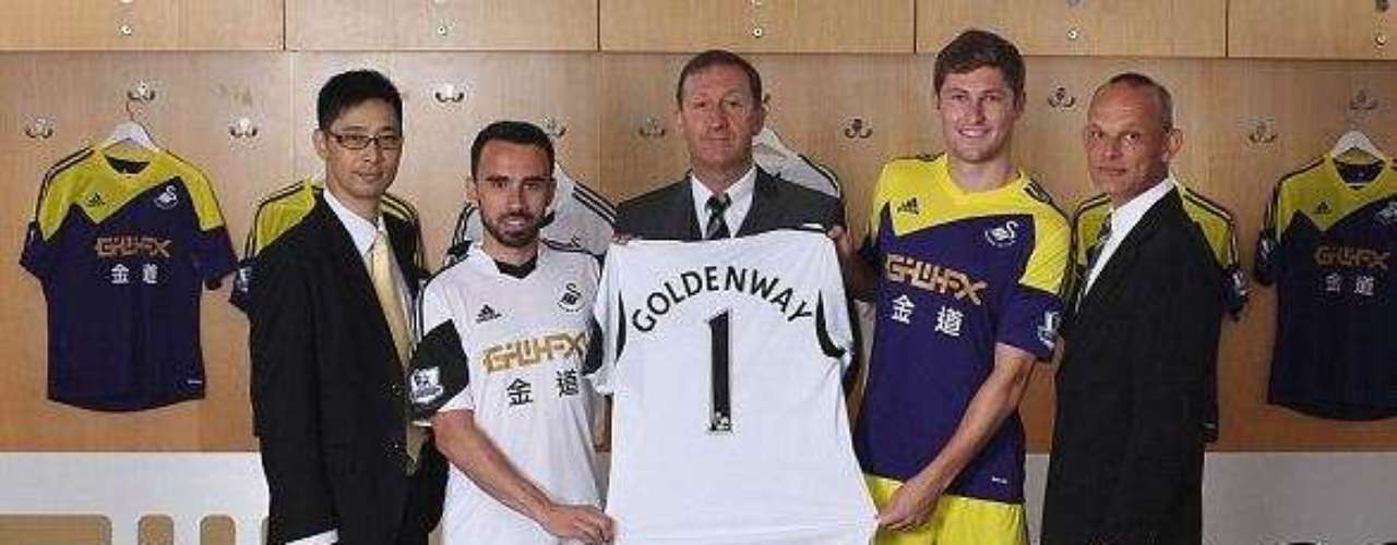 Swansea City will stick to the traditional white in the home jerseys, but the away jersey will introduce a new blue and yellow design.