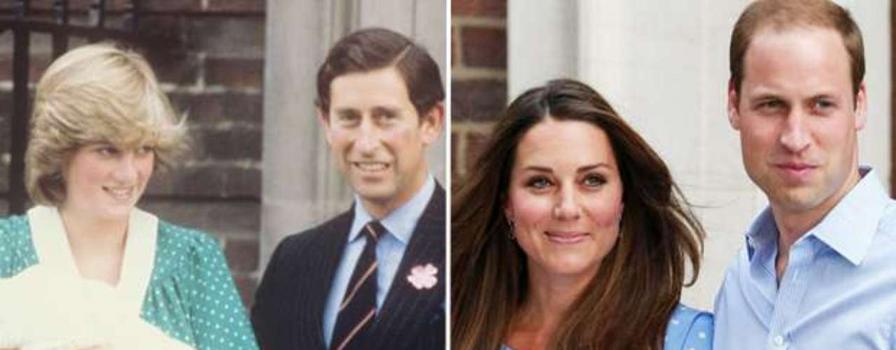La 'princesa del pueblo' y la duquesa de Cambridge presentaron a la prensa a su pequeño por la tarde. Kate salió del hospital a las 19:30 mientras que Diana salió sobre las 21:00 horas.
