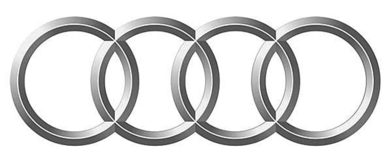 Audi.Formado por cuatro aros que representan alos fabricantes de autos independientes que se fusionaron en 1932: Audi, DKW, Horch y Wanderer.