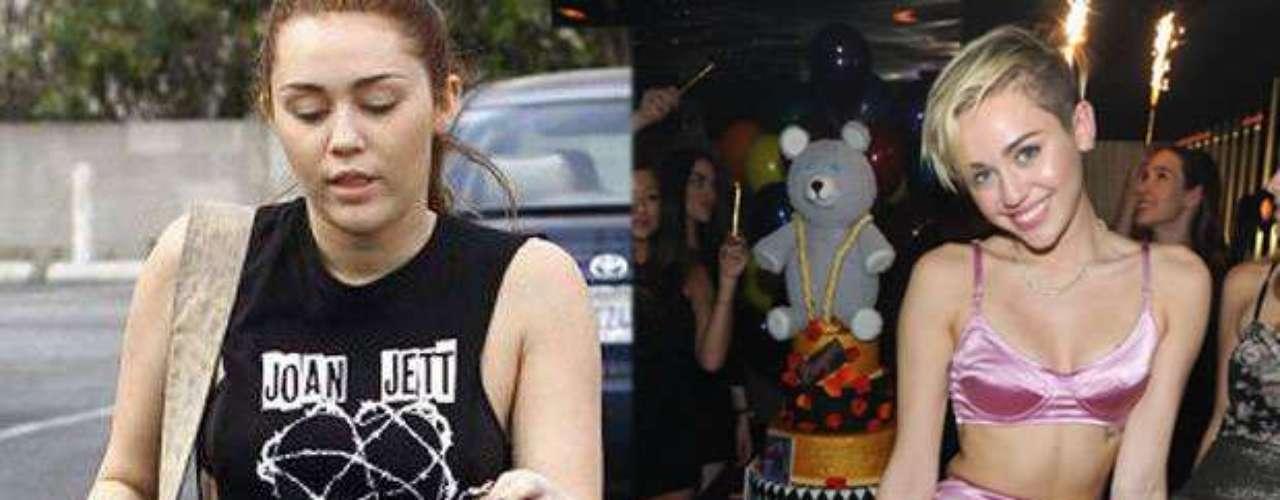 Miley Cyrus sorprendió con el cambio de su físico, el primero de muchos. Ahora luce una figura más tonificada y delgada gracias al cambio de dieta debido a su intolerancia al gluten además la artista asegura que ha bajado de peso gracias al Pilates.