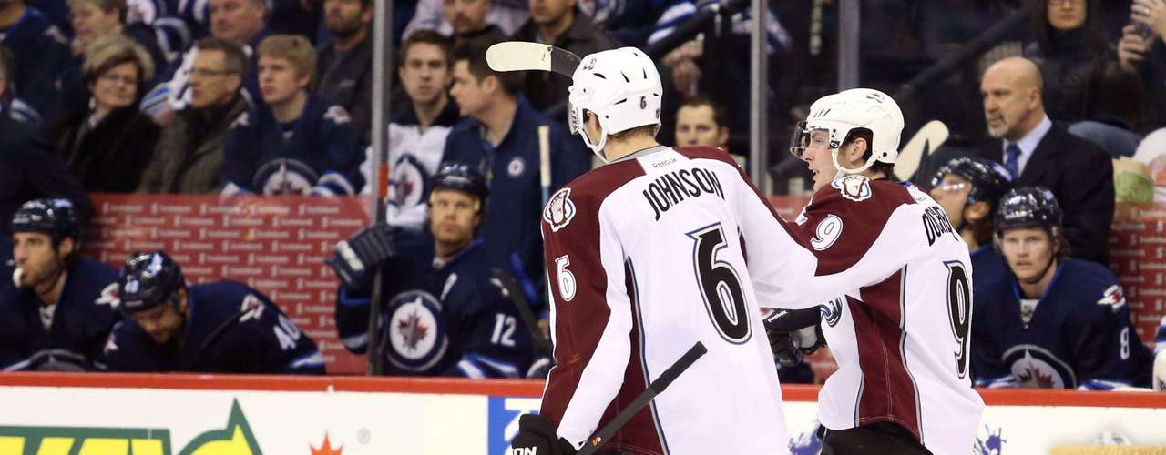 Dec 12, 2013; Winnipeg, Manitoba, CAN; Colorado Avalanche forward Matt Duchene (9) celebrates his goal against the Winnipeg Jets during the first period at the MTS Center. Mandatory Credit: Bruce Fedyck-USA TODAY Sports