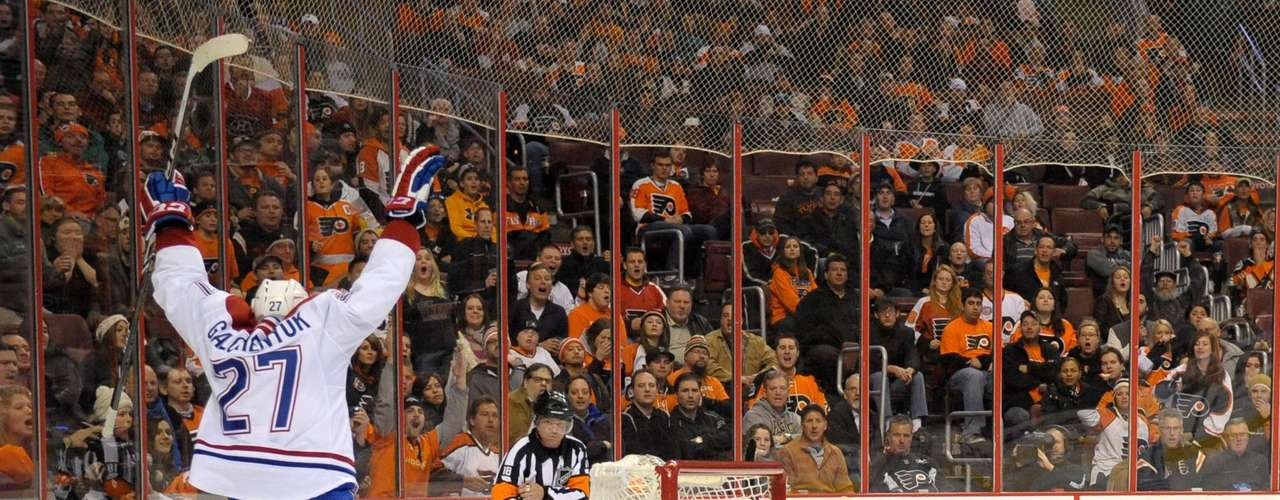 Dec 12, 2013; Philadelphia, PA, USA; Montreal Canadiens center Alex Galchenyuk (27) celebrates his goal against Philadelphia Flyers goalie Steve Mason (35) during the third period. The Flyers defeated the Canadiens, 2-1. Mandatory Credit: Eric Hartline-USA TODAY Sports