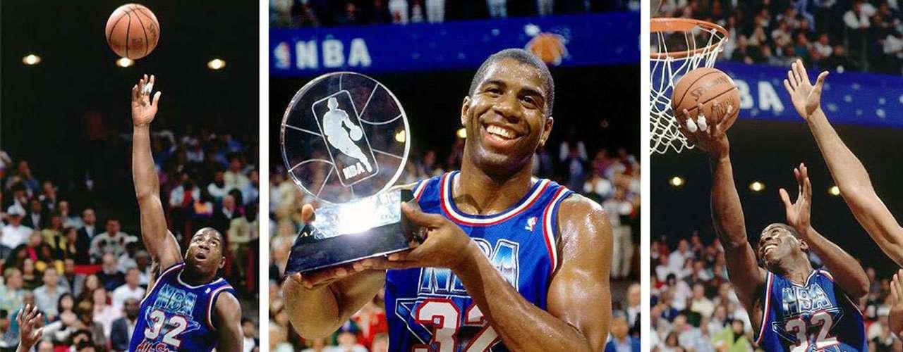 2 - Magic Johnson, 1992, L.A. Lakers: Uno de los momentos más emotivos en la historia del deporte. A unos meses de informar que tenía el VIH, Magic Johnson confirmó su retiro en la temporada 1991-92, pero  los fanáticos de Orlando lo querían en el partido. A pesar de las protestas, Johnson anotó 25 puntos, 9 asistencias y cinco rebotes en el triunfo del Oeste por 153-113. Este fue su segundo y último premio MVP de Juego de Estrellas.