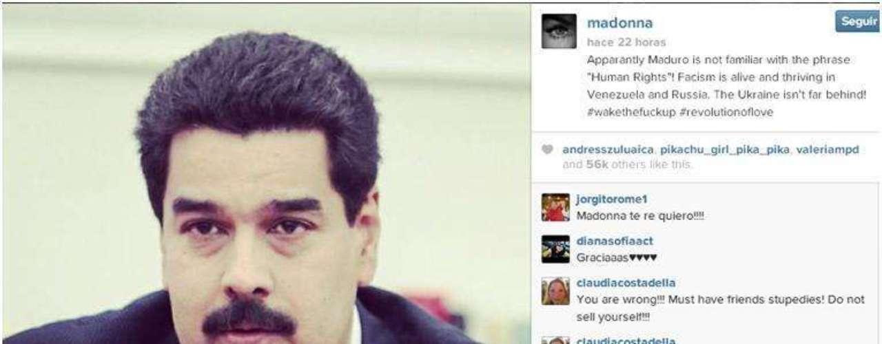 Madonna, arremetió contra el presidente de Venezuela, Nicolás Maduro, al colgar una foto suya en su perfil de la red social Instagram y escribir: \