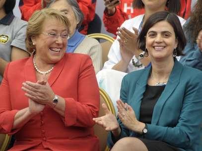 Michele Bachellet junto a Claudia Pascual, Ministra del Sernam. Foto: UPI