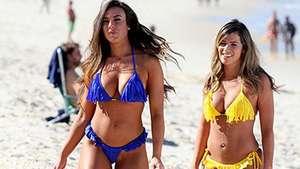 Nicole Bahls e ex-BBB Fani gravam comercial em praia carioca Video:
