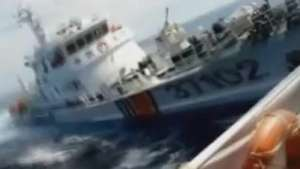 Vídeo registra suposta colisão de navios no Mar do Sul da China Video: