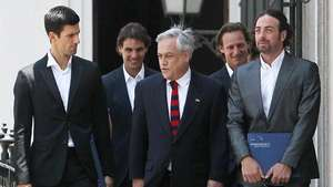 Piñera recibe a Nadal y Djokovic en el Palacio de la Moneda Video: