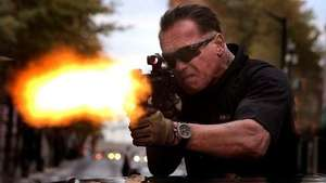 Tiros y más tiros! Schwarzenegger de nuevo como héroe de acción en 'Sabotage' Video: