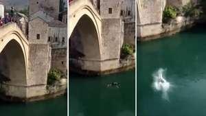 Joven sufre doloroso chapuzón al saltar desde un puente Video: