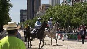Celebran carreras de caballos en pleno centro de Madrid Video: