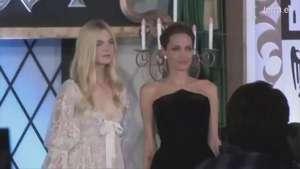 Angelina Jolie y Elle Fanning, blanco y negro en la premiere japonesa de Malefica Video: