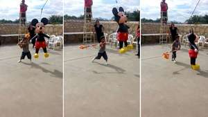 Así reacciona un niño al no poder romper una piñata Video: