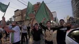 Palestinos celebran alto al fuego Video: