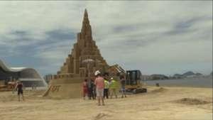 Castillo de arena de 12 metros de altura en Río lograría récord Guinness Video: