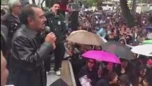 Telefonistas protestan en el Senado por caso Ayotzinapa Video: