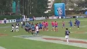 Brutal pelea entre Chile y Uruguay en la semifinal de rugby  Video: