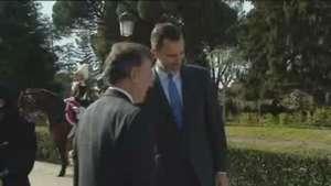 Santos agradece el apoyo de España en el inicio de su visita de de Estado Video: