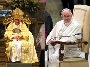 El sillón usado por el papa emérito Benedicto XVI fue reemplazado por el que se observa en la foto de Francisco. Foto: AFP / AP