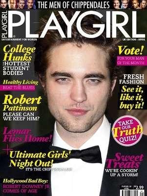 Playgirl publica de fotos de Robert Pattinson desnudo y el vampiro de Crepúsculo aparece en tapa vestido de smoking Foto: Playgirl