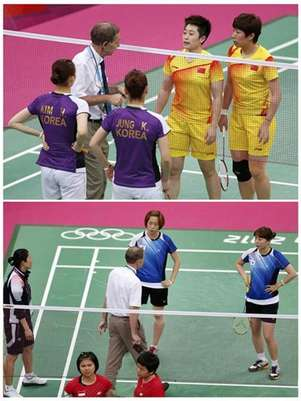 Combination photo shows officials speaking to players from China and South Korea (top), and players from South Korea and Indonesia during their women's doubles group stage badminton matches during the London 2012 Olympic Games at the Wembley Arena in this July 31, 2012 file photo. Foto: Files / Reuters In English