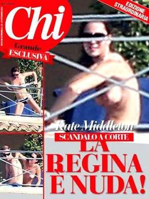 La revista italiana 'Chi' dedica un amplio reportaje al topless de Catalina de Cambridge Foto: Terra