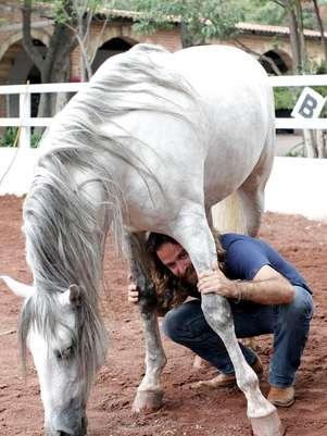 El entrenador argentino visitó una escuela de jinetes, en Texcoco, para trabajar con Zeus, un caballo de raza española. Foto: Reforma