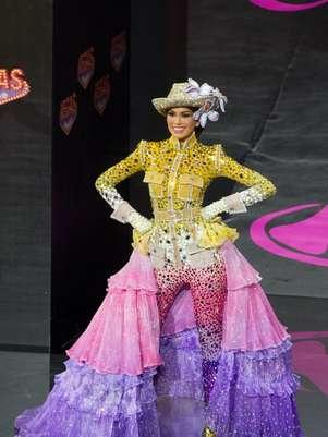 Este es el traje típico que lució Miss Venezuela. Foto: AFP