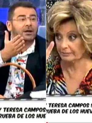Jorge Javier Vázquez y María Teresa Campos durante la discusión este miércoles en 'Sálvame'. Foto: Telecinco